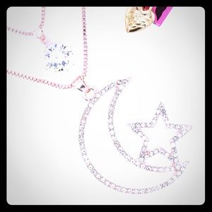 Betsey Johnson Drape Double Necklace Moon & Star
